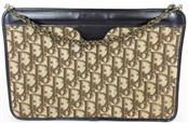 CHRISTIAN DIOR CANVAS SHOULDER BAG CLUTCH